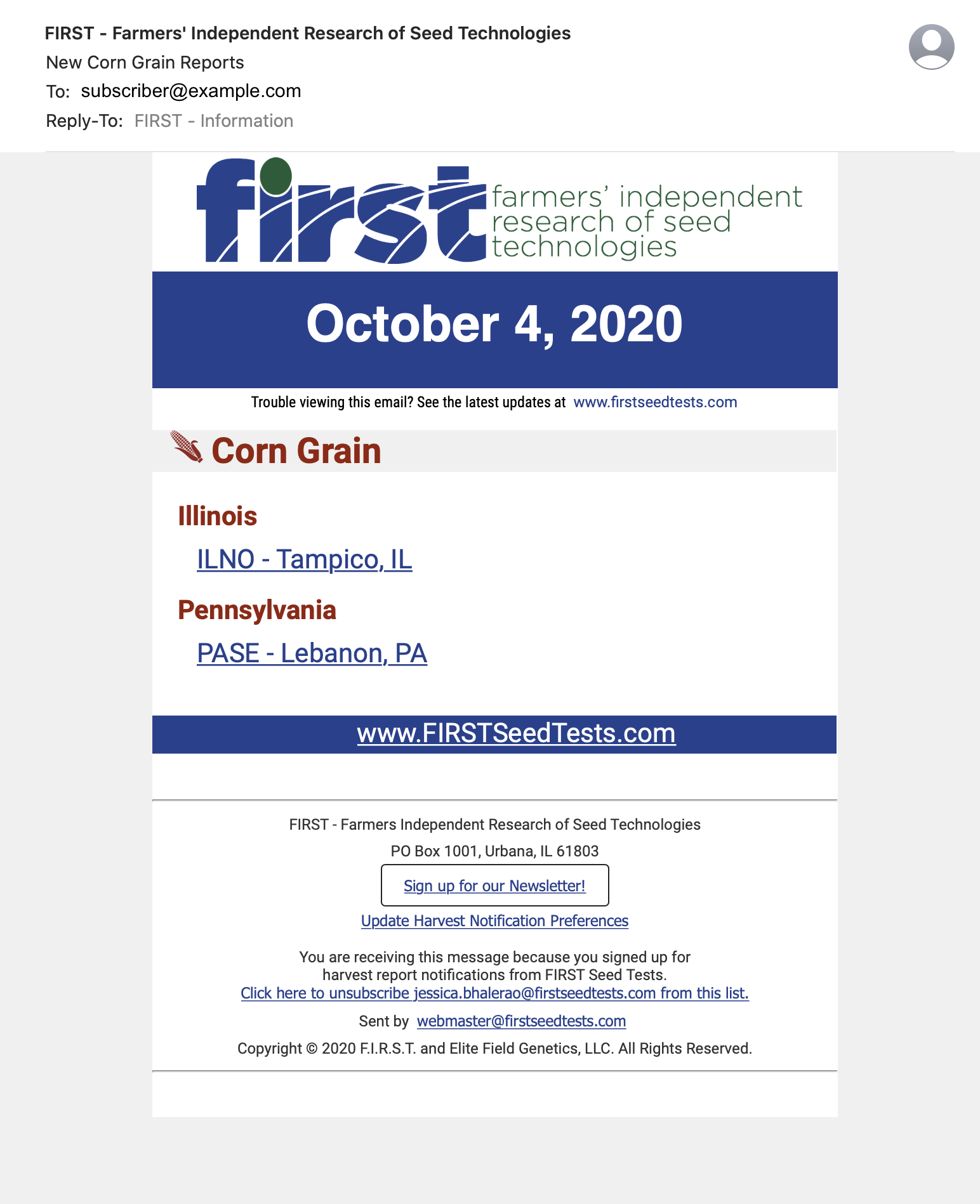 FIRST-harvest-email