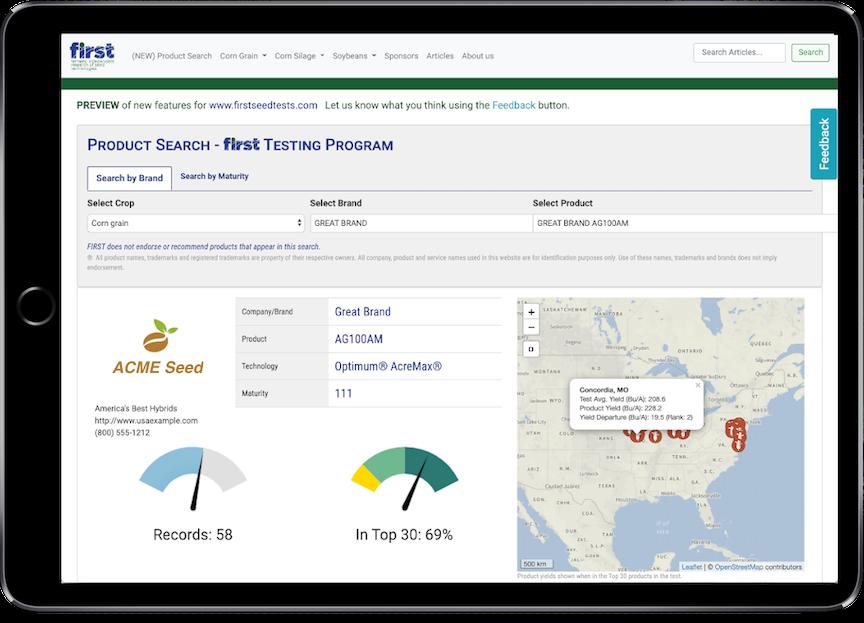 Product Search Screenshot