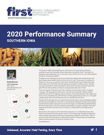2020 Southern Iowa Performance Summary